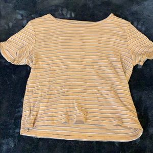 Yellow Striped American Eagle Cropped Tee